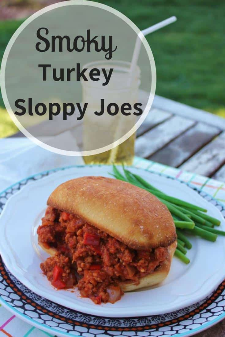 Turkey Sloppy Joe on a white plate with green beans.