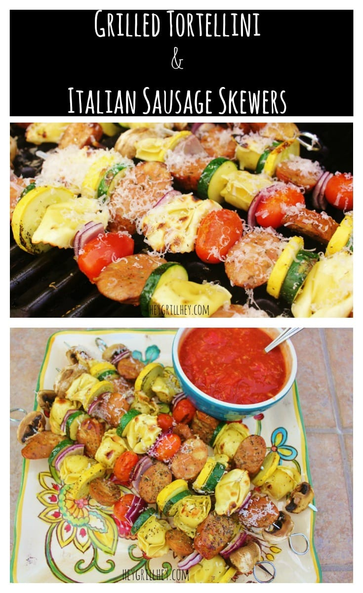 Grilled Tortellini and Italian Sausage Skewers on a grill. Grilled Tortellini and Italian Sausage Skewers on a plate with a bowl of salsa.