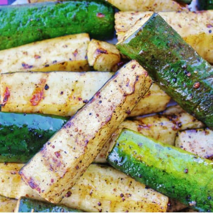 pile of sliced and grilled zucchini