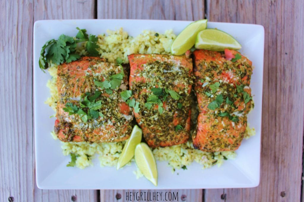 Cilantro Lime Grilled Salmon on a white plate.