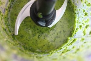 Close up shot of a small food processor, pulsing together cilantro, lime zest and juice, garlic, olive oil, salt, black pepper, and red pepper flakes