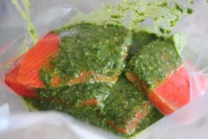 Uncooked Salmon in a large ziploc bag, topped with green cilantro lime marinade