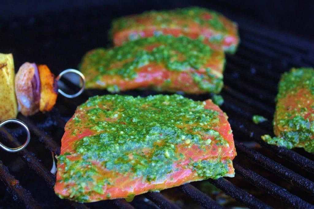 cilantro lime salmon on grill.