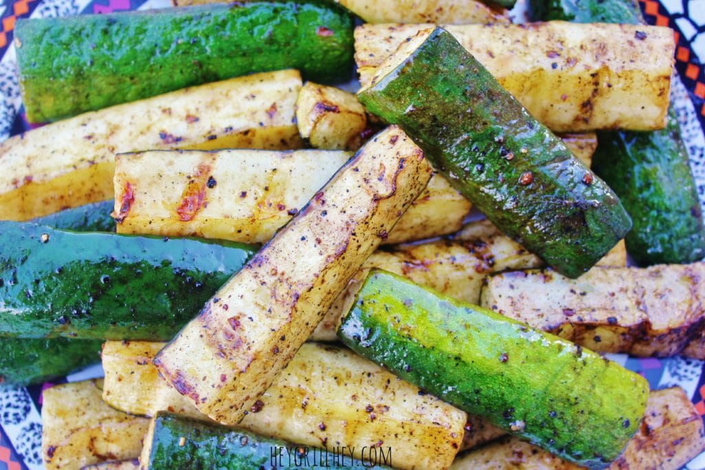 sliced and grilled zucchini on a serving platter.