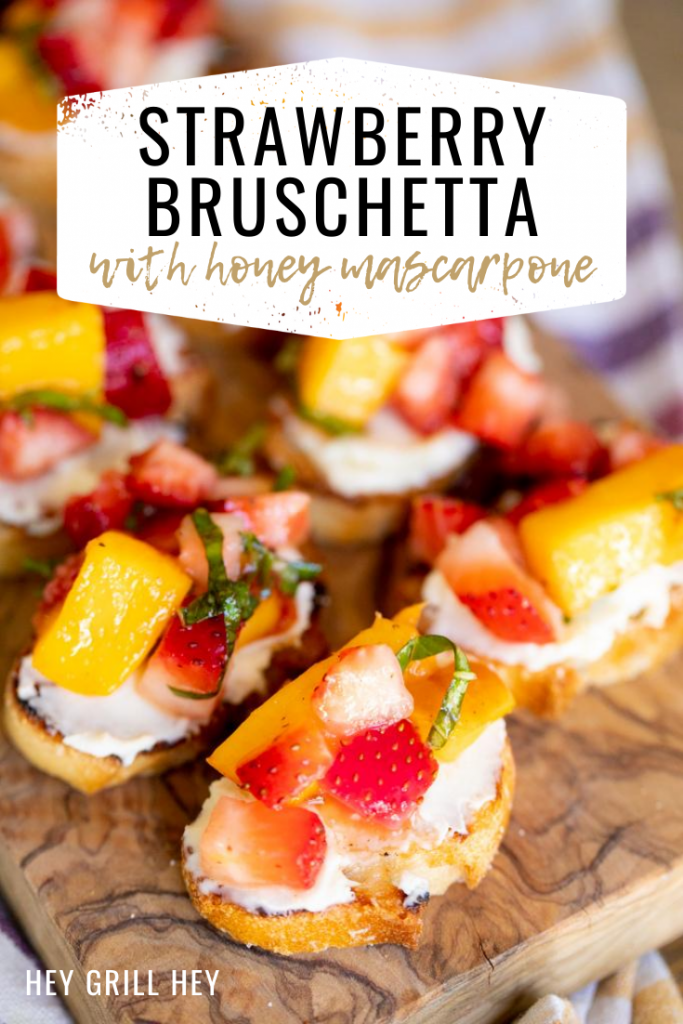 Toasted small bread rounds, topped with sweetened mascarpone and diced strawberries and peaches.