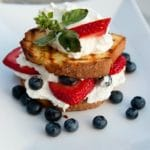 Grilled Lemon Cake with Berries and Cream,