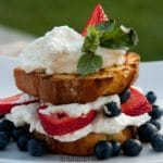Grilled Lemon Cake with Berries and Cream.