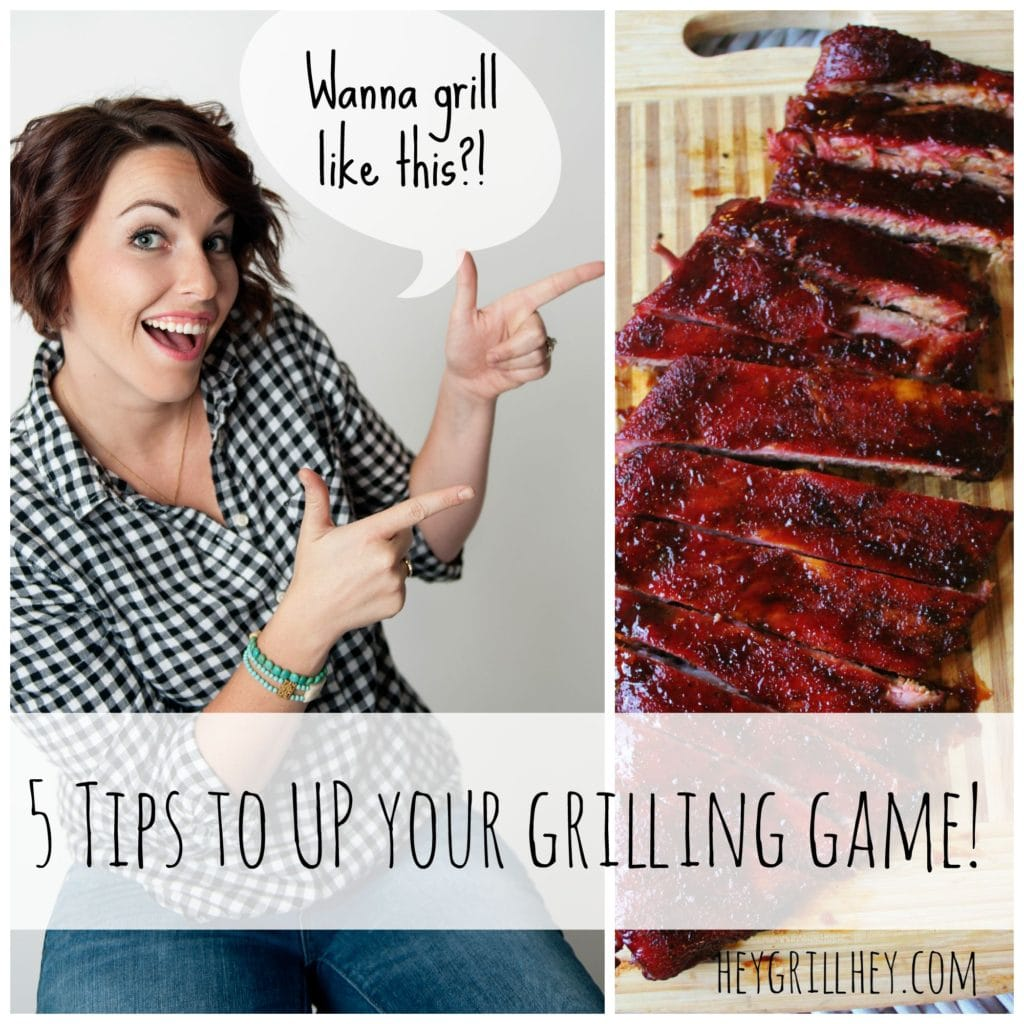 """Susie Bulloch performing finger guns as she points to a photo of sliced ribs with a text overlay that says """"5 Tips to Up Your Grilling Game!"""""""