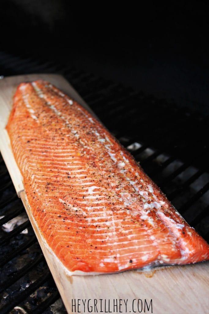 Cedar Plank Salmon on a cedar plank.