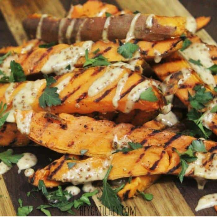 grilled sweet potato fries drizzled in honey mustard sauce