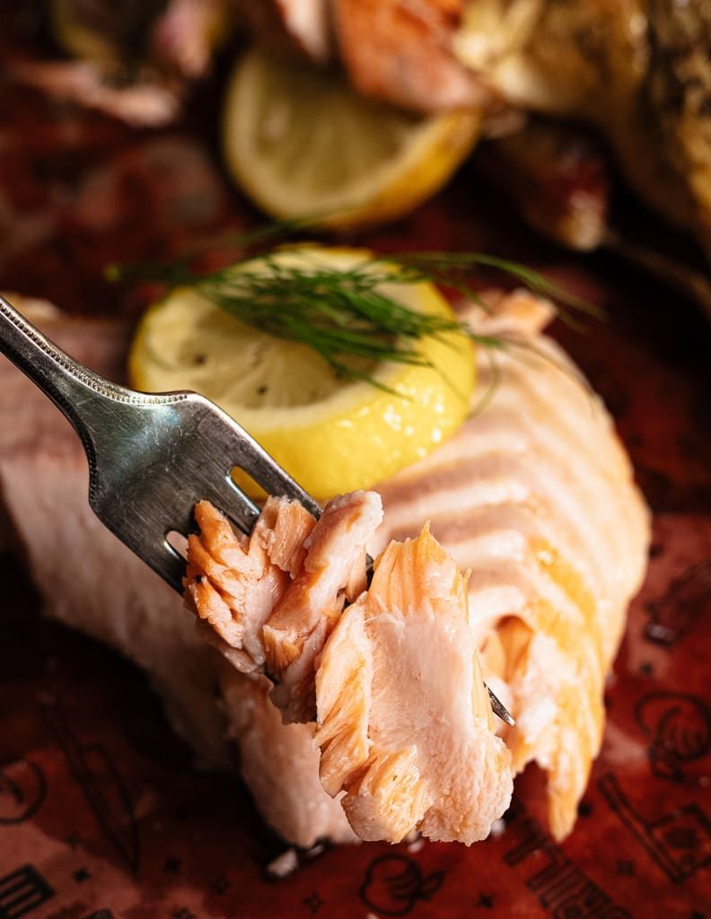 Flaked grilled salmon on a fork with a whole grilled salmon in the background.