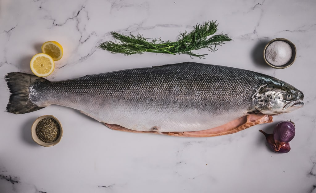 Whole salmon surrounded by herbs and sliced lemon.