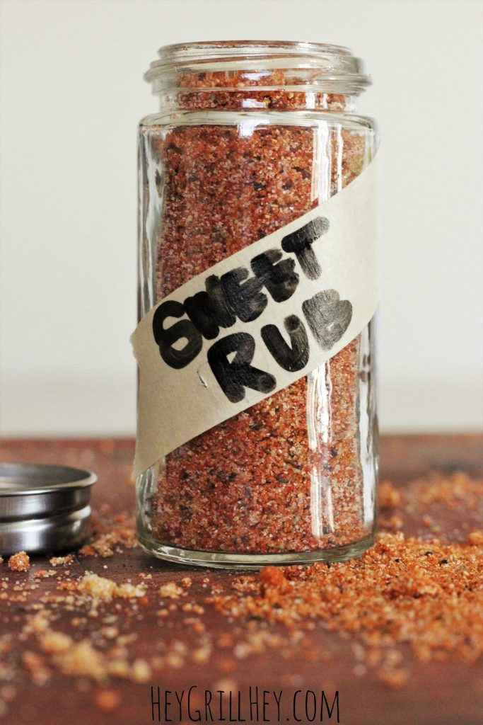 spice jar full of bbq sweet rub for chicken pork and more.