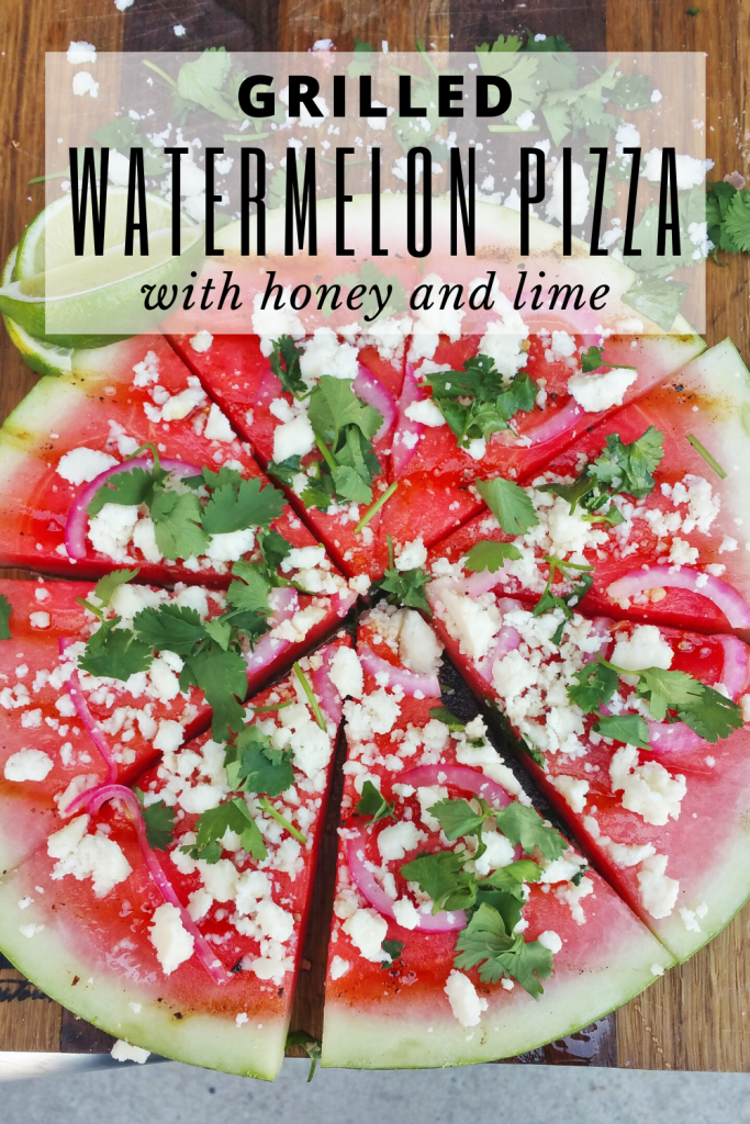 Grilled watermelon sliced into triangles garnished with cilantro and queso fresco.