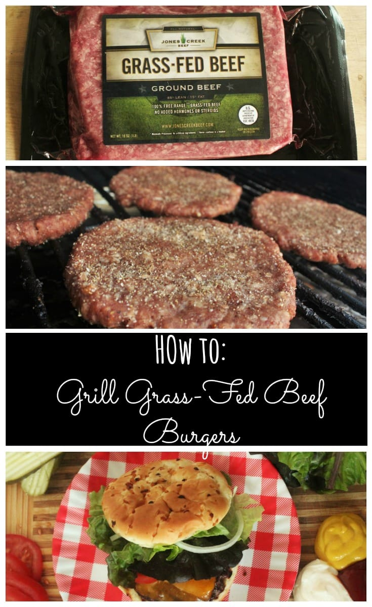 Three image collage of ground beef, patties, and prepared burger with text overlay that reads: How to Grill Grass-Fed Beef Burgers