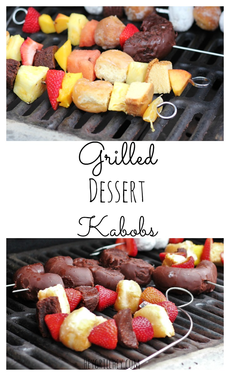 Grilled Dessert Kabobs with donuts and fruit skewered on a grill.