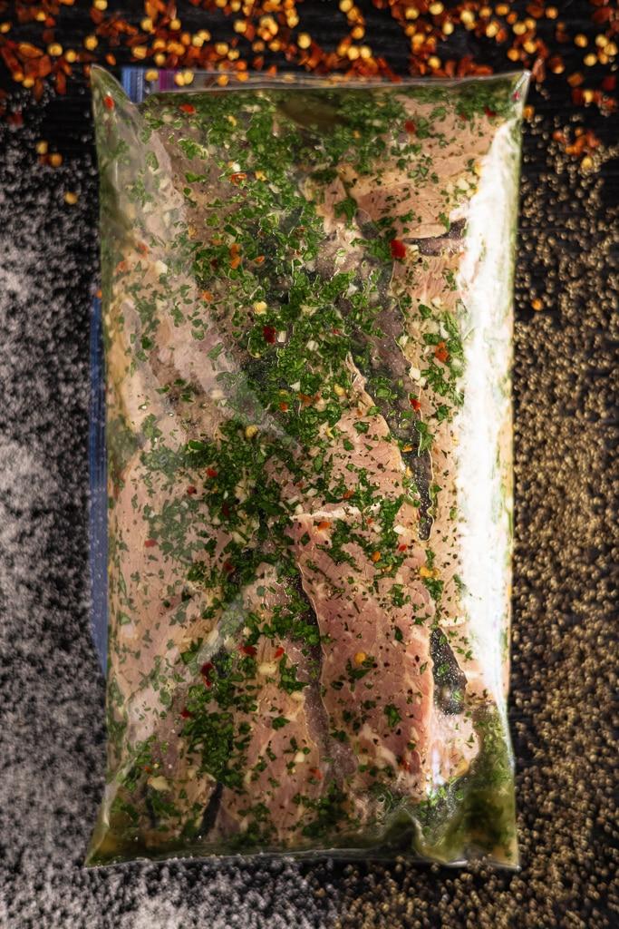 Sirloin steak in a garlic Brazilian marinade