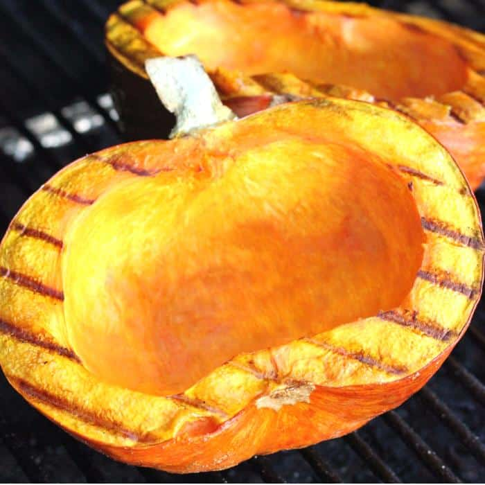 grilled pumpkin on grill grates