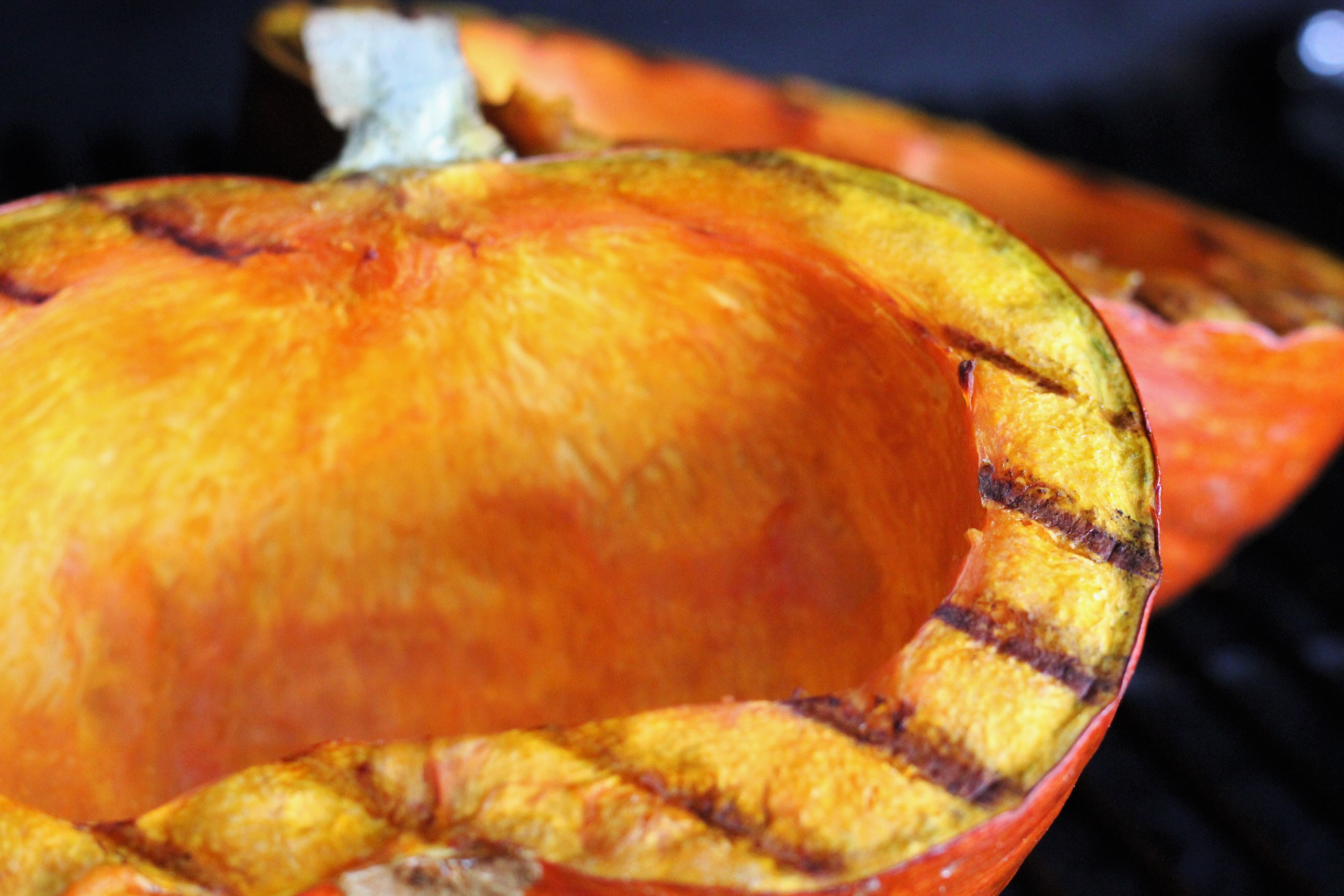 Pumpkin sliced in half and grilled.