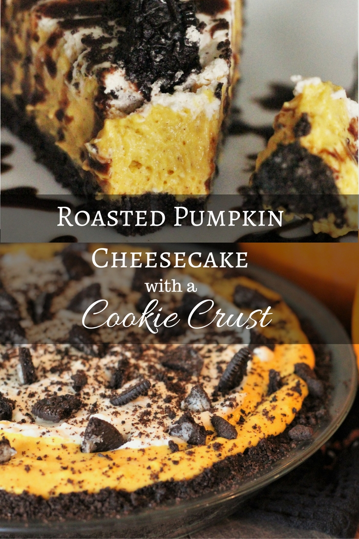 """Roasted Pumpkin Cheesecake with Text overlay that reads """"Roasted Pumpkin Cheesecake with a Cookie Crust."""""""