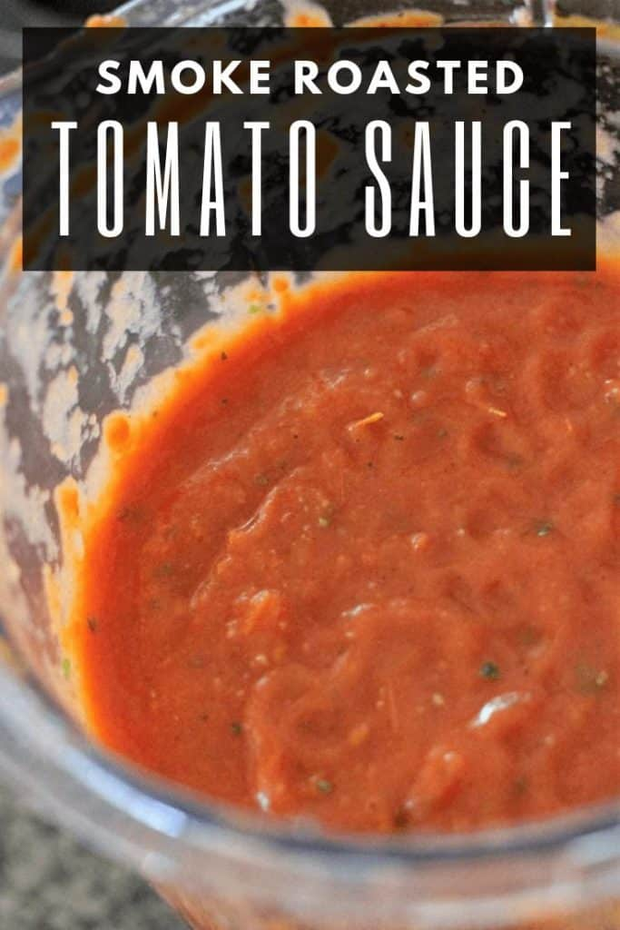 "glass bowl of smoke roasted tomato sauce. Text overlay reads, ""Smoke Roasted Tomato Sauce."""