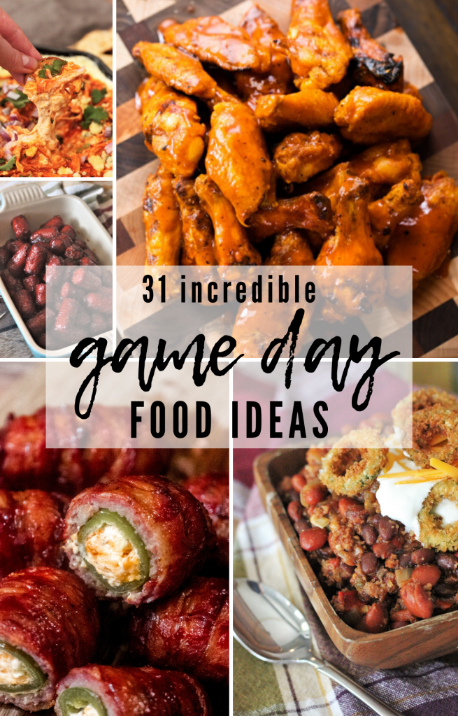 collage of game day food ideas, including smoked chili, chicken wings, and jalapeno poppers