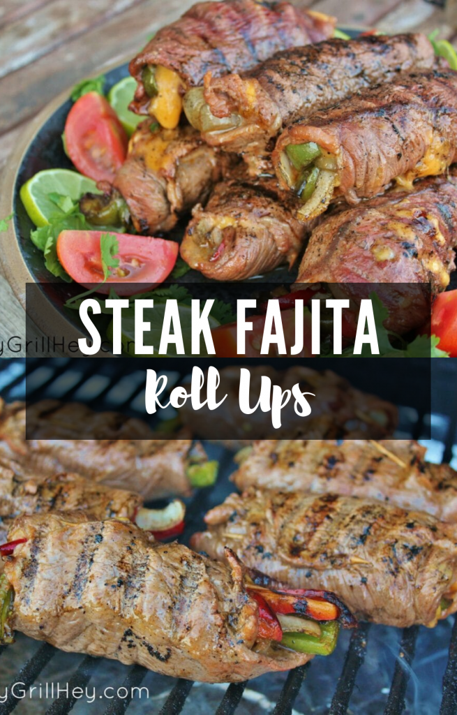A collage of two images of steak fajita roll ups. The top image is steak fajita roll ups with tomatoes, limes, and cilantrios on a plate, the second is the fajita roll ups cooking on the grill.