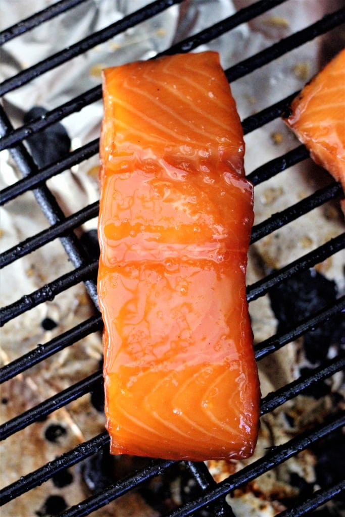 smoked salmon topped with maple glaze.