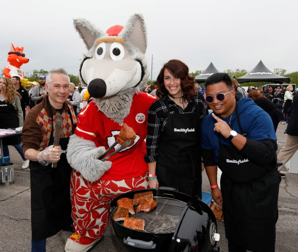 KC Wolf and participants along with Smithfield set the Guinness World Records title for Largest grilling lesson on Thursday, April 27, 2017, in Kansas City, Missouri.
