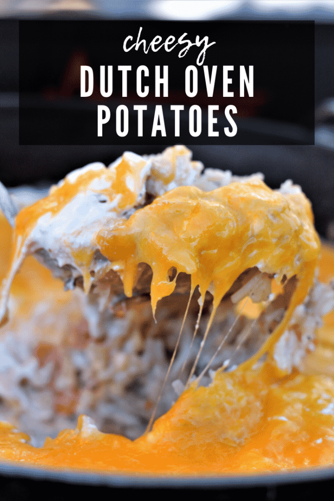 cheesy potatoes in a dutch oven.