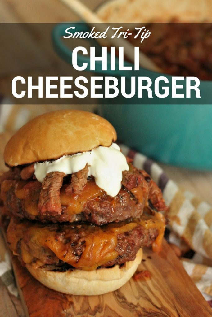 Tri Tip Chili Cheeseburger on a wooden cutting board.