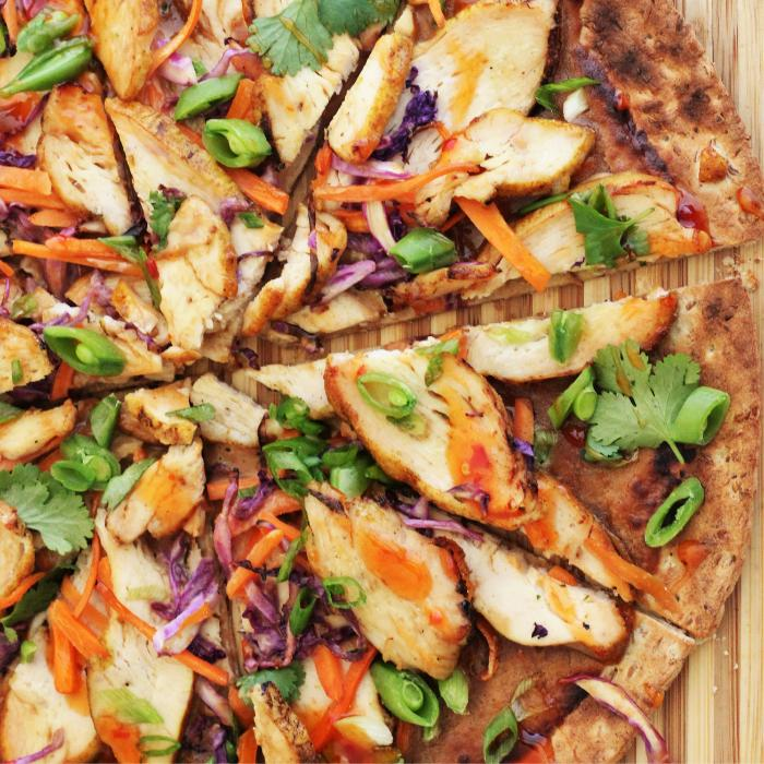 sliced thai grilled chicken pizza