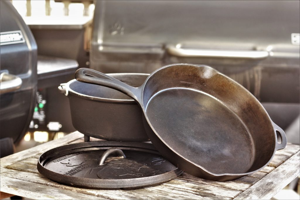 Cast Iron pans on a table.