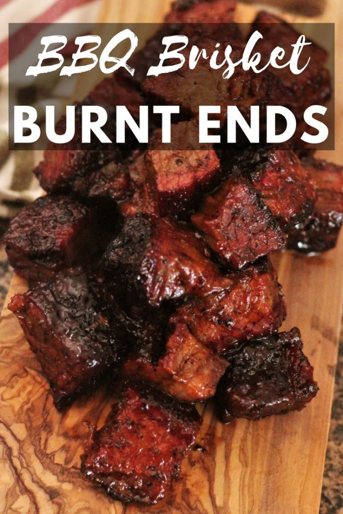Burnt Ends on a wooden cutting board