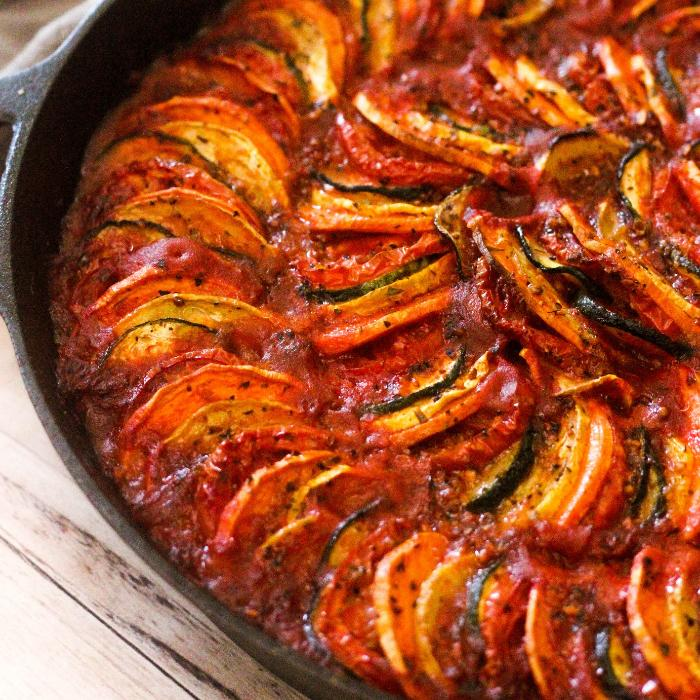 grilled ratatouille in a cast iron skillet