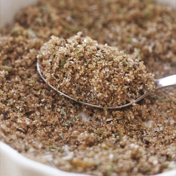 Spoonful of sweet and smoky salmon seasoning resting inside a white ceramic bowl full of more seasoning.