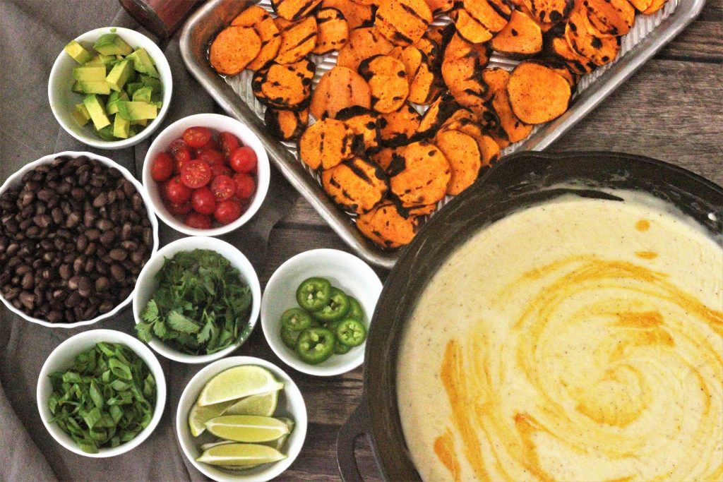 sweet potato nachos recipe with all the ingredients portioned out in to separate small bowls.