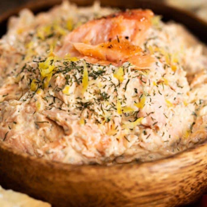 smoked salmon dip in a wooden bowl