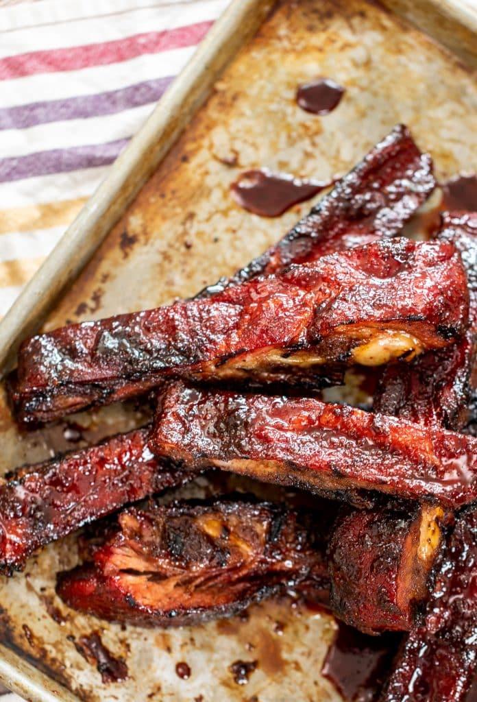crispy sticky spare ribs on baking sheet.