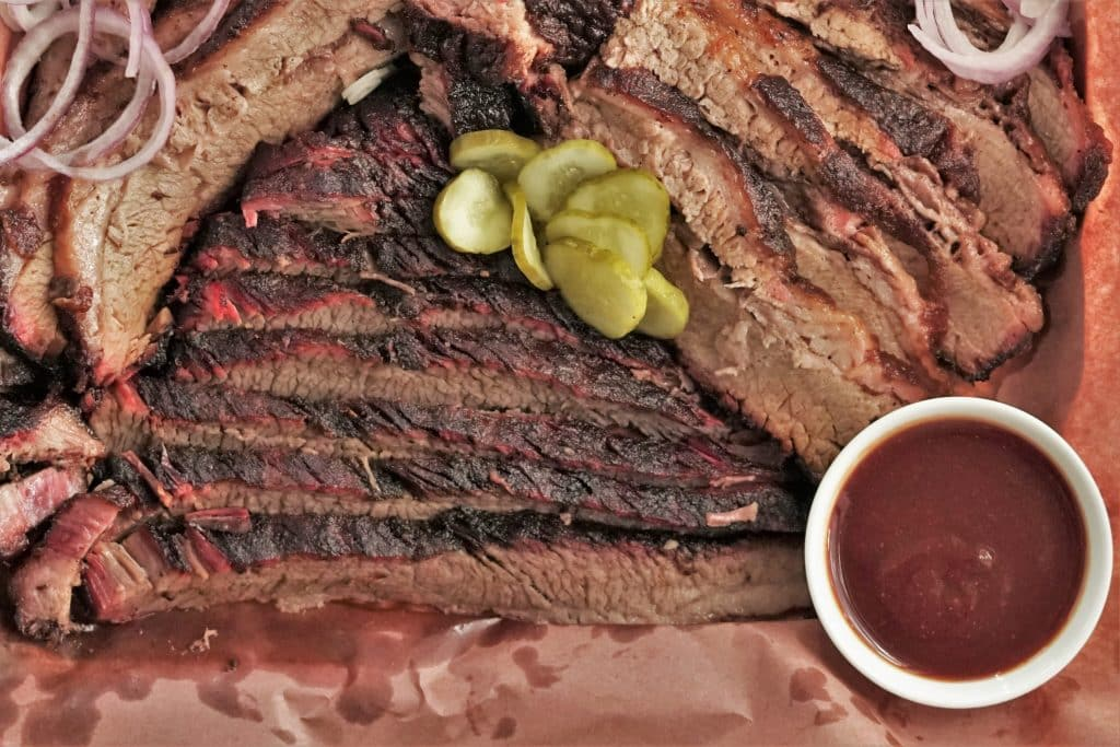 smoked brisket with coffee barbecue sauce.