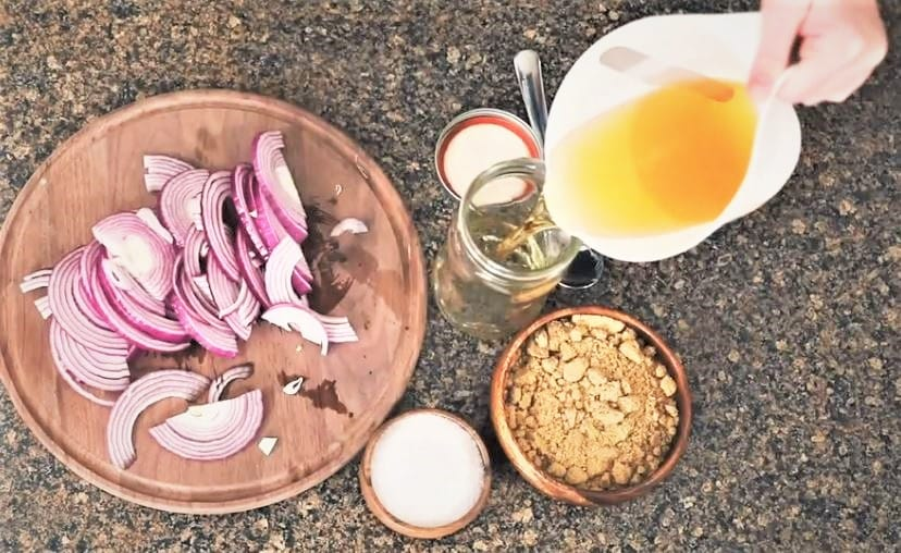 pickled red onion ingredients on a cutting board.
