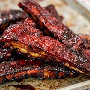 crispy sticky spare ribs on baking sheet