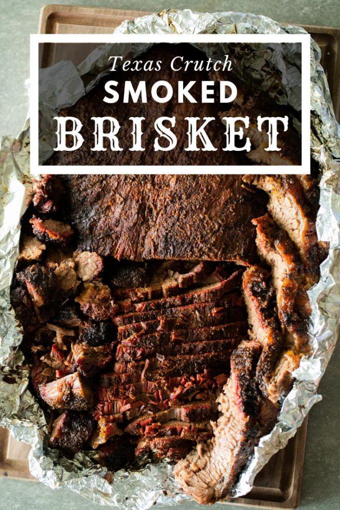 Texas crutch smoked brisket in foil.