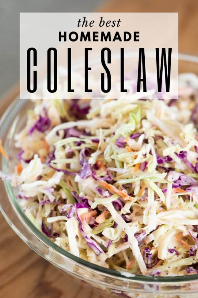 bowl of the best homemade coleslaw on a wooden table.