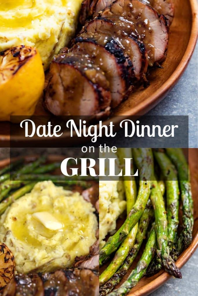 grilled pork tenderloin, smoked mashed potatoes, and grilled asparagus in a picture collage