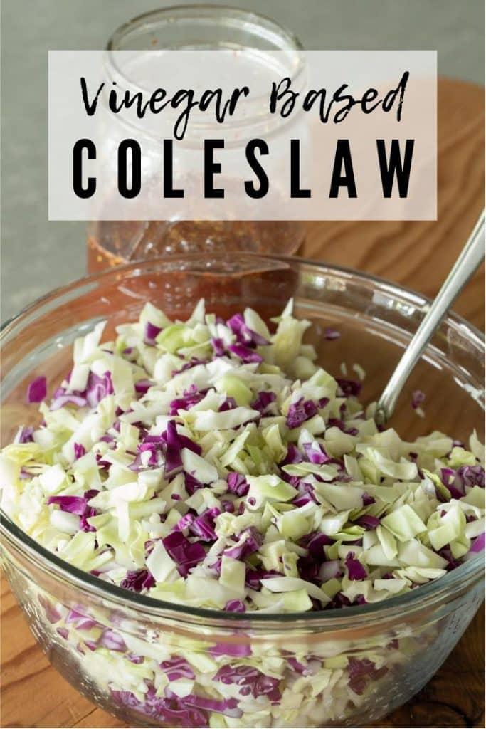 vinegar based coleslaw in a glass bowl.