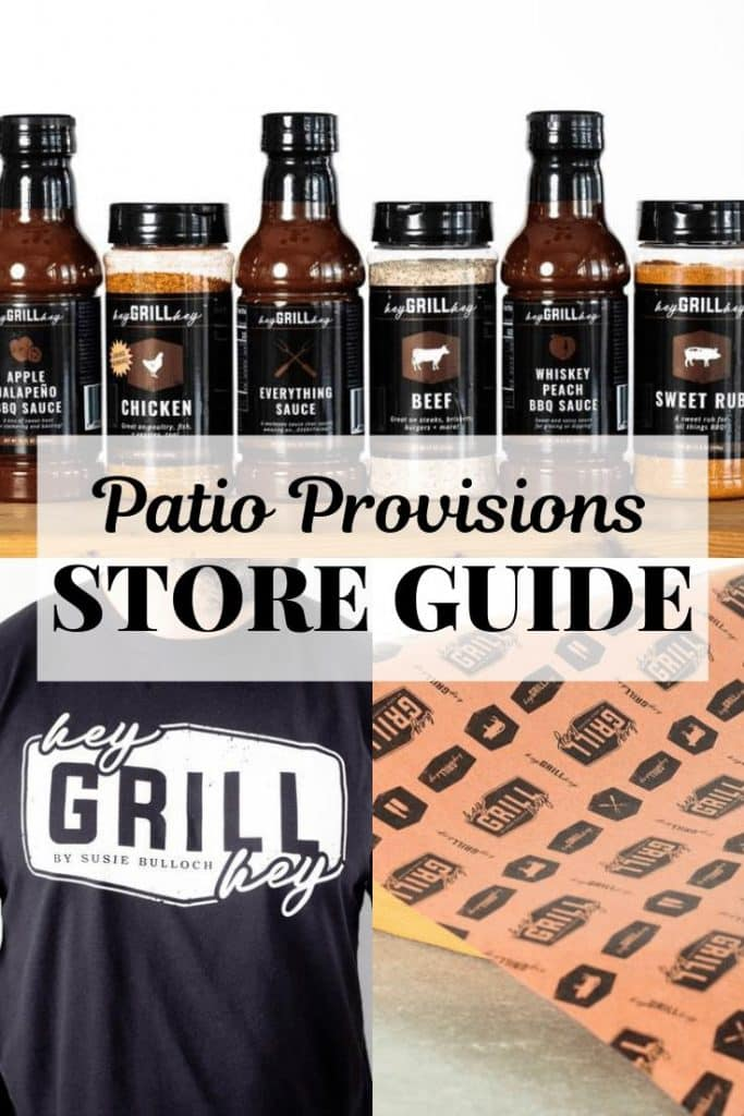 collage of 6 signature rubs and sauces, Hey Grill Hey logo black t-shirt and Hey Grill Hey branded peach butcher paper