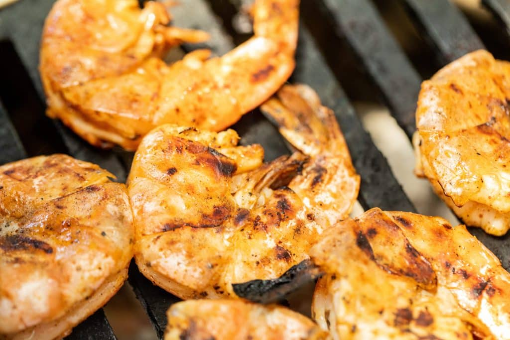 shrimp in the shell on the grill.