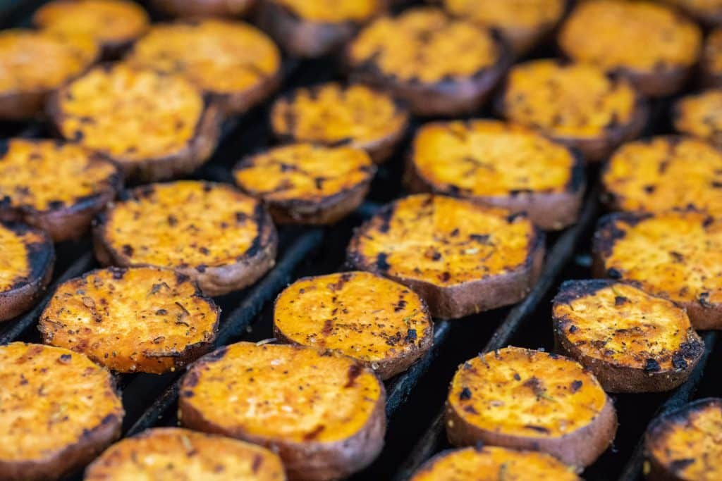 sweet potato slices on the grill