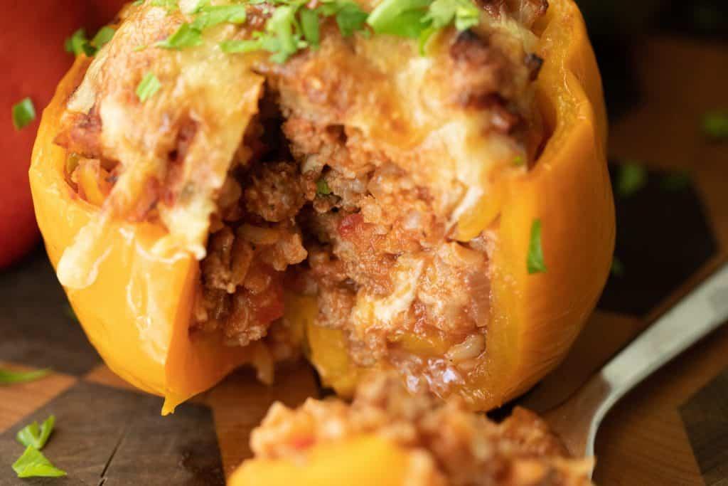 sliced stuffed bell pepper